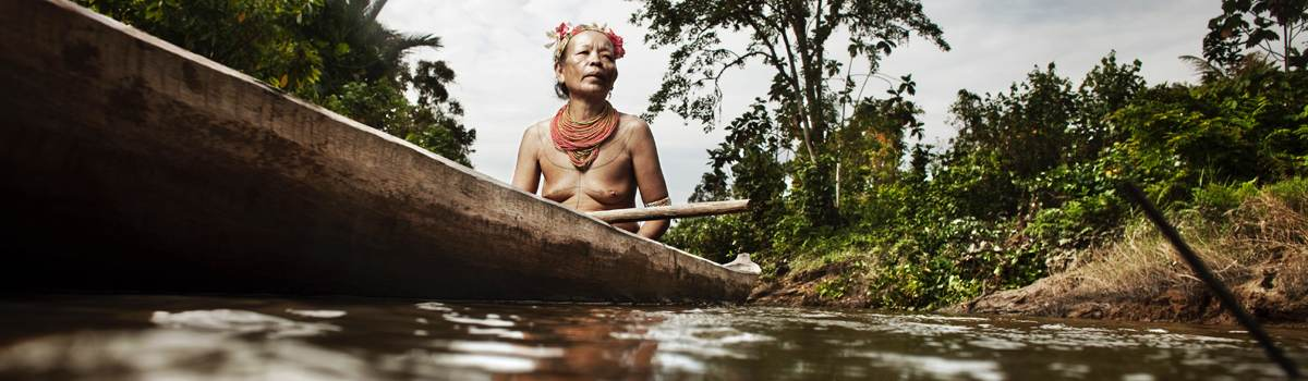Mentawai woman in boat