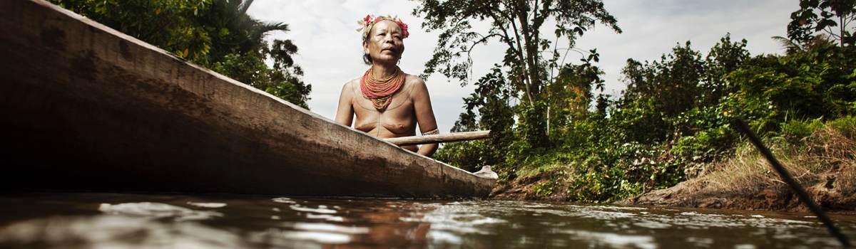 Mentawai woman in boat