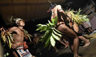 Mentawai men dancing