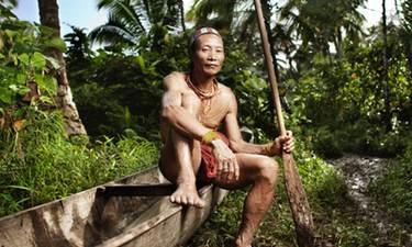 Mentawai man and boat